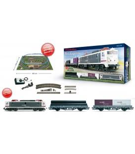 """Set de inicio con locomotora 269 RENFE Mercancias y 2 vagones plataforma.""""Rail Start"""". Ref: E10101. ELECTROTREN. H0"""