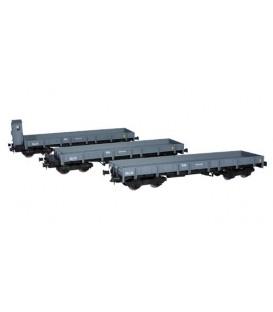 Set de 3 vagones plataforma MM (RN). Ref: 81400. MABAR. H0