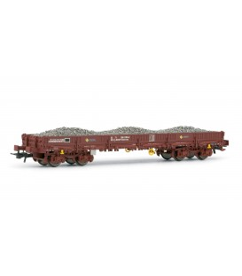 Vagón plataforma RENFE, tipo Rmmns con carga de balasto. Ref: E5187. ELECTROTREN. H0