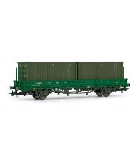 Vagón plataforma RENFE, tipo Ks, con 2 contenedores militares -ejército de tierra-. Ref: E1337. ELECTROTREN. H0