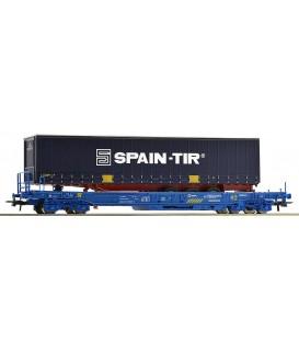 Vagón Plataforma unificado + semiremolque SPAIN TIR RENFE. Ref: 67508. ROCO. H0