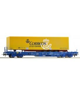 Vagón Plataforma unificado + semiremolque CORREOS,  RENFE. Ref: 67508. ROCO. H0
