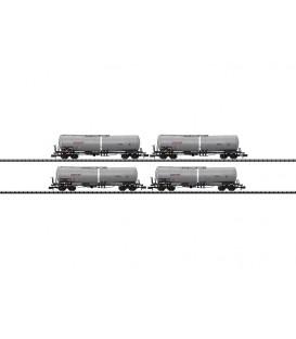 """Set 4 vagones Cisterna compañía privada  """"NACCO"""". Ref: 15423. TRIX. N"""