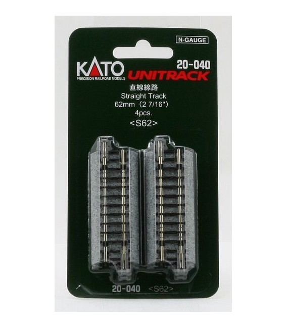 Pack 4 vias rectas UNITRACK Escala N, de 62mm KATO Ref: 20-000