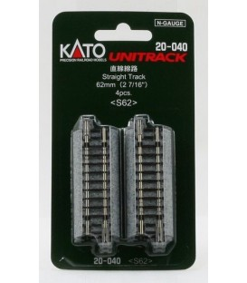 Pack 4 vias rectas UNITRACK Escala N, de 62mm KATO Ref: 20-000