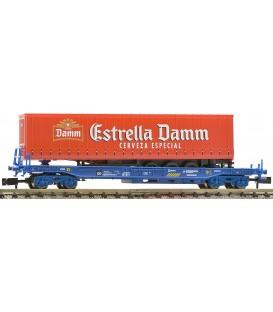 """VAGON PLATAFORMA RENFE CON REMOLQUE """"ESTRELLA DAMM"""", Ref: 845351. FLEISCHMANN. N"""