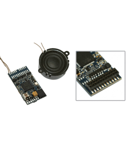 "LokSound V4.0 ""Universal sound for reprogramming"", with 21-pin MTC interface."