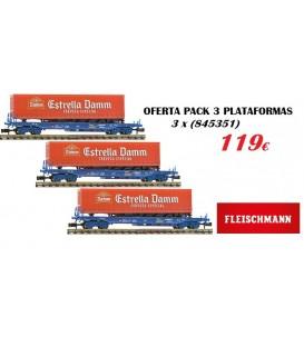 """Pack Oferta 3 PLATAFORMAS RENFE CON REMOLQUE """"ESTRELLA DAMM"""", Ref: P845351. FLEISCHMANN. N"""