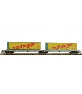 Vagón portacontenedores doble tipo Sggmrs, AAE. Ref: 825324. FLEISCHMANN. N
