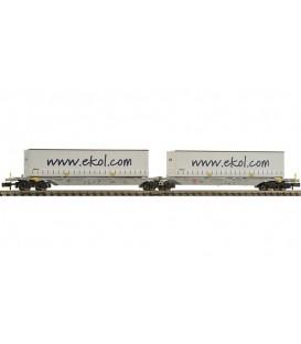 Vagón portacontenedores doble tipo Sggmrs, AAE. Ref: 825329. FLEISCHMANN. N