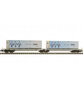 Vagón portacontenedores doble tipo Sggmrs, AAE. Ref: 825330. FLEISCHMANN. N
