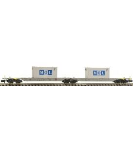 Vagón portacontenedores doble tipo Sggmrs, AAE. Ref: 825333. FLEISCHMANN. N