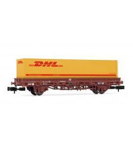 Vagon plataforma de 2 ejes RENFE con contenedor DHL. Ref: HN6358. ARNOLD. N