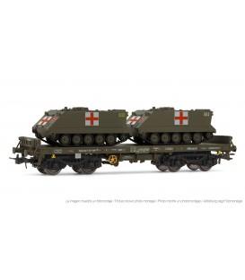 """Vagón plataforma verde, tipo Rmmns, con 2 TOA para """"Transporte militar sanitario"""". Ref: E5174. ELECTROTREN. H0"""
