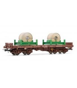 Vagón plataforma RENFE, Tipo Rmms, cargado de bobinas. Ref: E5172. ELECTROTREN. H0