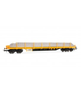 Vagón plataforma COMSA, tipo Rs, con carga de traviesas Ref: E5191. ELECTROTREN. H0
