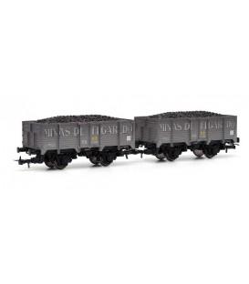 Set de 2 vagones - MINAS DE FIGAREDO-,con carbón Envejecidos ELECTROTREN HO Ref. E19013