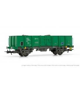 Vagón abierto RENFE, tipo Elos, verde y gris cargado con chatarra. ELECTROTREN HO Ref. E1262