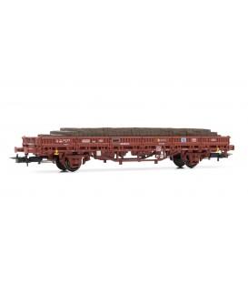 Vagón plataforma RENFE, tipo Ks, con carga de traviesas de madera-. Ref: E1463. ELECTROTREN. H0