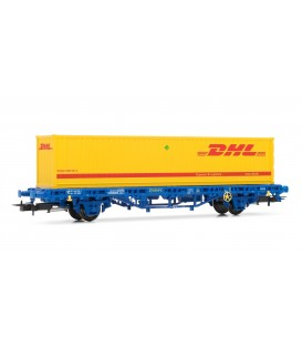 """Vagón MC1 de RENFE, tipo Lgs, con contenedor """"DHL""""-. Ref: E1462. ELECTROTREN. H0"""