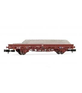 Vagón plataforma RImms, con traviesas. Ref: HN6254. ARNOLD. N