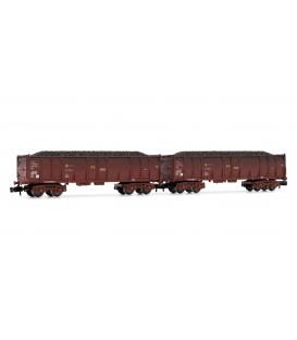 Set 2 vagones abiertos RENFE rojo oxido envejecidos con carga de carbón. Ref: HN6355. ARNOLD. N