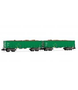 Set 2 vagones abiertos RENFE verdes con carga de Maderas. Ref: HN6356. ARNOLD. N
