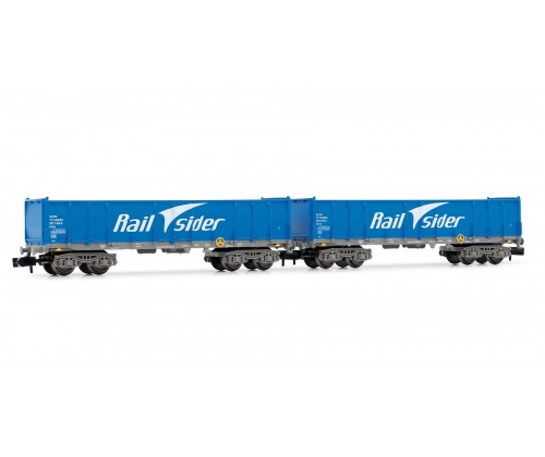 Set 2 vagones abiertos RAIL SIDER color azul. Ref: HN6357. ARNOLD. N
