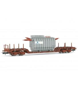 """Plataforma bogies de transportes especiales. Transformador eléctrico """"Iberdrola"""". Ref: E5189. ELECTROTREN. H0"""