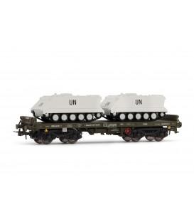 """Vagón plataforma verde, Tipo Rmms, con 2 TOA """"UN"""". Ref: E5170. ELECTROTREN. H0"""