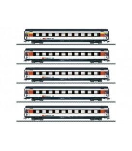 Set 5 coches Intercity (SBB CFF FFS). Ref: 43672. MÄRKLIN. H0
