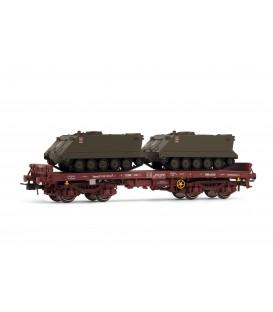 Vagón plataforma rojo óxido, tipo Rmms, con 2 TOA. Ref: E5171. ELECTROTREN. H0
