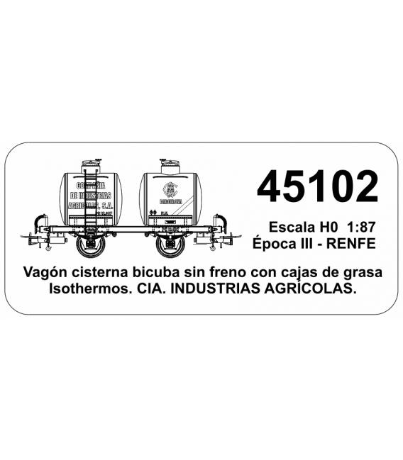 "Vagón Cisterna ""Bicuba"" Cia. de INDUSTRIAS AGRICOLAS  (RENFE)"