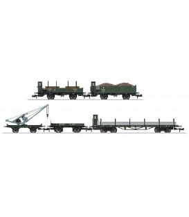 Set 5 vagones para mercancías con grua. Ref: 15000. MINITRIX. N