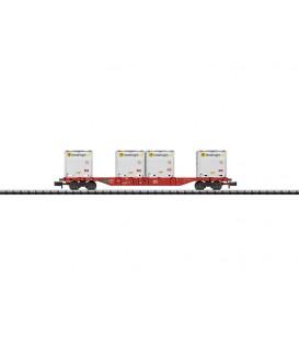 Vagón Plataforma con contenedores (DB). Ref: 15531. MINITRIX. N