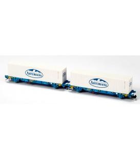 Nuevo Set 2 portacontenedores MC3 Renfe galleta blanca Ref: N33350. MFTRAIN. N