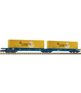 Vagón doble porta contenedores CORREOS de tipo Sggmrs, RENFE. Ref: 825336. FLEISCHMANN. N