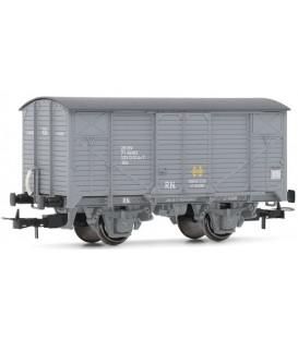 """Vagón """"J"""" Cerrado Gris de RENFE, RN.  Ref:E19026"""