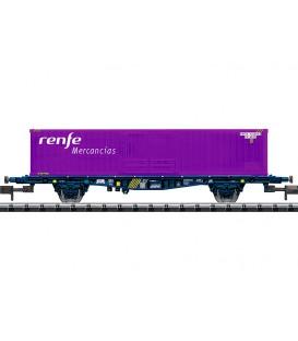 Vagón porta contenedores  RENFE Mercnacias Ref: 15649. MINITRIX. N