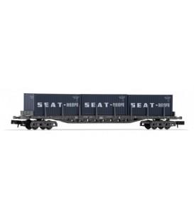 """Vagón plataforma Rgs de 4 ejes, cargado con 3 contenedores 20´ """"SEAT"""", RENFE. Ref: HN6404. ARNOLD. N"""