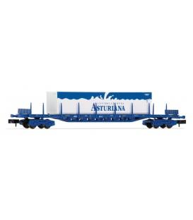 """Vagón plataforma Rgs de 4 ejes, cargado con Contenedor """"CENTRAL LECHERA ASTURIANA"""", RENFE. Ref: HN6405. ARNOLD. N"""