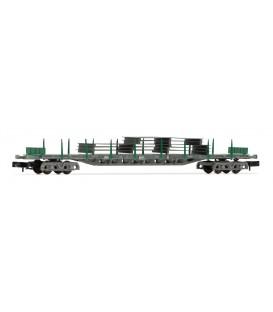 Vagón plataforma Rgs de 4 ejes, en versión gris y verde, cargado con planchas de acero, RENFE. Ref: HN6406. ARNOLD. N
