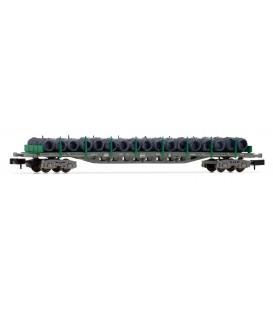 Vagón plataforma Rgs de 4 ejes, en versión gris y verde, cargado con Bobinas de alambre, RENFE. Ref: HN6407. ARNOLD. N