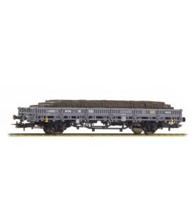 Vagon Telero 2 ejes (Versión Gris) Carga Traviesas madera ELECTROTREN Ref. E6543