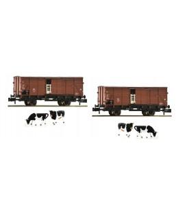 set de 2 Vagónes para ganado, tipo G10, DB.  Ref: 881804 FLEISCHMANN. N