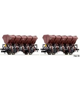 Set de dos vagones con volquetes basculantes tipo Ommi 51, DB Ref: 845103 FLEISCHMANN. N