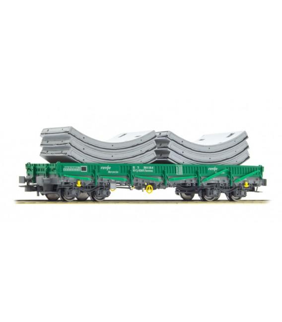 Vagón de 4 ejes, tipo Rmmns, verde, cargado con segmentos  ELECTROTREN  Ref. E6542