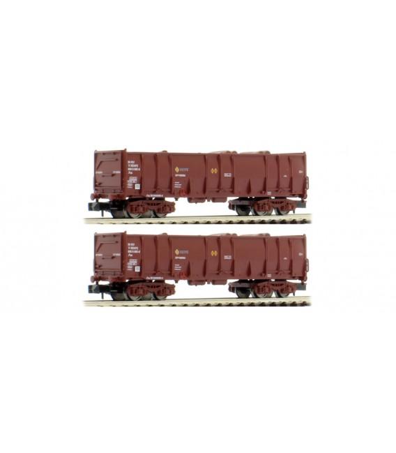 Pack de 2 vagónes Ealos en color marrón, cargados con troncos, épocha IV, RENFE. Ref: HN6411. ARNOLD. N