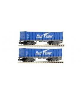 """Pack de 2 vagónes Ealos en color Azul, """"Rail Sider"""", época VI. Ref: HN6413. ARNOLD. N"""