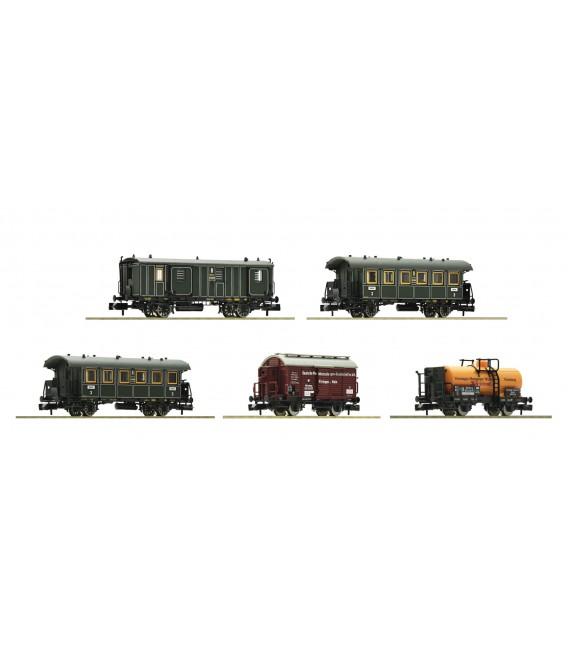 """Set de 5 Vagones """"Tren de mercancías para el transporte de personas"""", K.Bay.Sts.B. Ref: 809003. Fleischmann. N"""